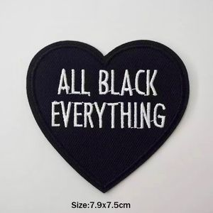 Accessories - All Black Everything Heart Iron On Patch
